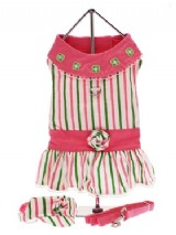 Chloe's Beverly Hills Chihuahua Dress Set - <b>As seen in the movie Beverly Hills Chihuahua</b>, this fully lined harness dress has cute lime green and pink stripes, embroidered matching flowers and a lace trimmed collar. Matching visor & Lead are included and it has a sturdy D-ring for easy lead attachment. It was worn by the star of the mov...