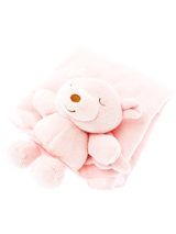 Snuggle Bear Baby Pink Blanket (Small) - Every pup loves to cuddle on a cozy Snuggle Bear Blanket. They help ease separation anxiety in newly-weaned pups and give older dogs comfort and security. Each blanket is made of soft fleece and features a friendly face and arms to nuzzle.