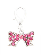 Swarovski Ribbon Dog Collar Charm (Pink Crystals) - A beautiful and dainty Swarovski Ribbon Dog Collar Charm that will add a subtle amount of bling to any collar. Team it up with our mini hair bow for a perfect look.