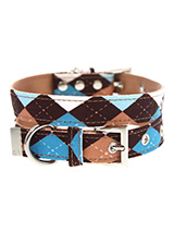 Brown & Blue Argyle Fabric Collar - Our Brown Argyle Collar is a traditional Scottish design which represents the Clan Campbell of Argyll in western Scotland. It is stylish, classy and never goes out of fashion. Used for kilts and plaids, and for the patterned socks worn by Scottish Highlanders since at least the 17th century. It is l...