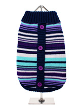 Purple Striped Mod Sweater - The Urban Pup 1960s Mod knitted multi stripe pullover cardigan in striking retro colours is a must for the new season. Button down sweaters and cardigans ooze pure Sixties Mod charm and are an essential article of Retro Clothing for any self-respecting pups wardrobe. Add a touch of Indie swagger to...