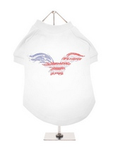 American Eagle GlamourGlitz Dog T-Shirt - Exclusive GlamourGlitz 100% Cotton Dog T-Shirt. Embellished with a soaring American Eagle, the National Emblem and crafted with Red, Silver and Blue Rhinestuds that catch a sparkle in the light. Wear on it's own or match with a GlamourGlitz ''Mommy and Me'' Women's T-Shirt to complete the look.