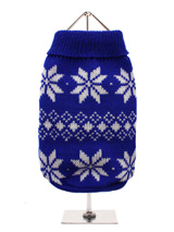 Blue Snowflake Knitted Sweater - A knitter cool blue sweater with a cute snowflake pattern, inspired by the landscape weather and culture of Scandinavia. A favourite on the ski slopes, this sweater is a stylish yet practical way to keep your pup warm.